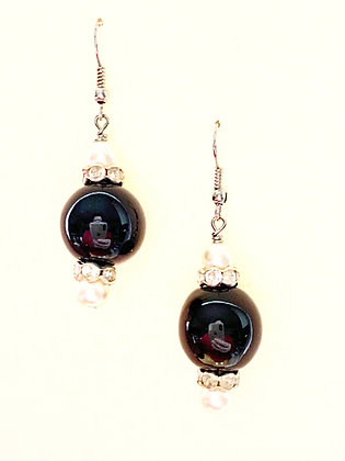 black with white pearls earrings