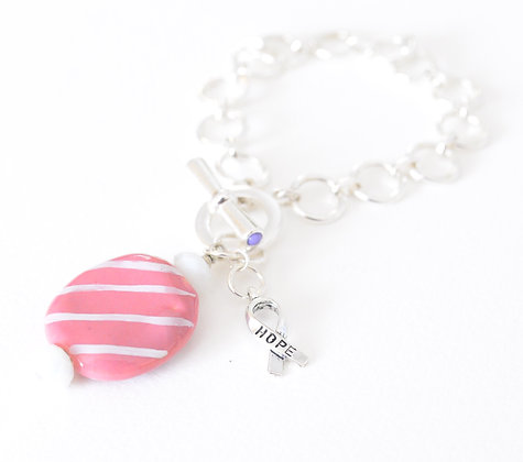 pink with white ribbon charm bracelet