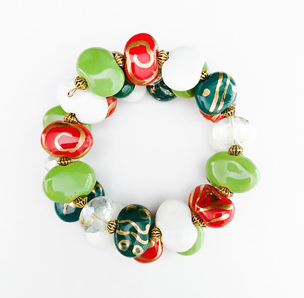 green and red with gold wrap bracelet