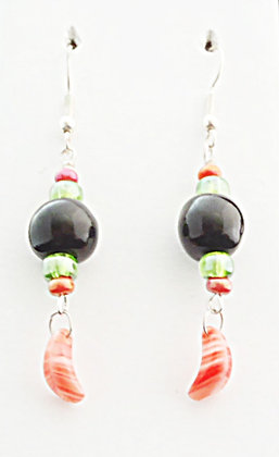 black and orange with feather charm earrings