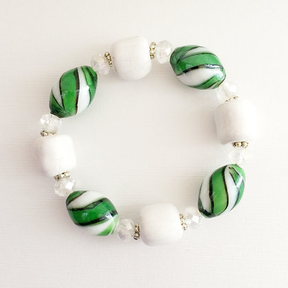white and green peppermint bracelet