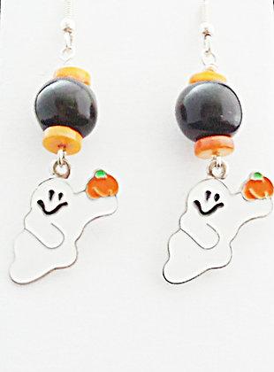 black and orange ghost earrings