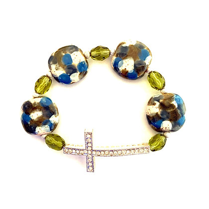 blue and green with cross bracelet