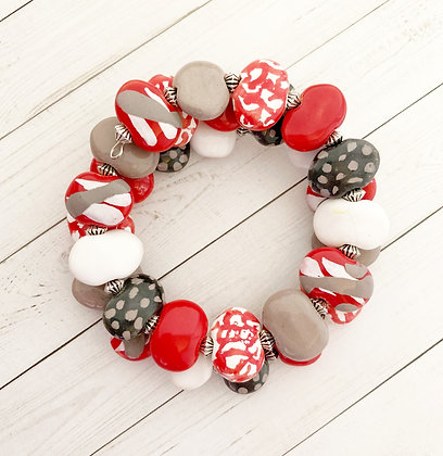 red, gray and white wrap bracelet