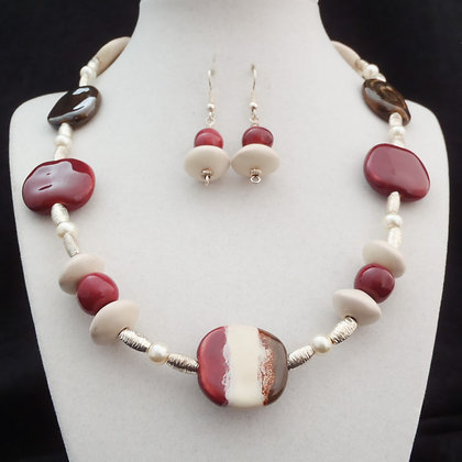 brown, cream, pink stripes necklace or earrings