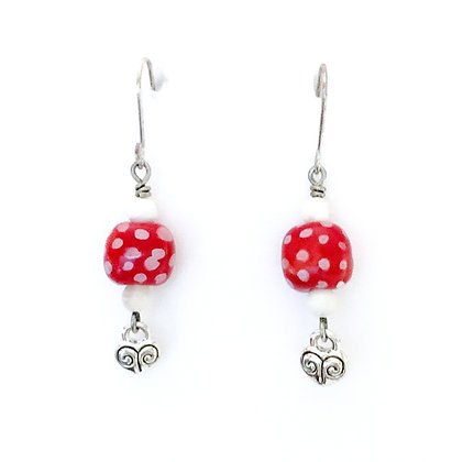 red with white dots heart earrings