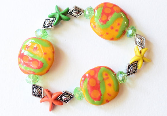 orange and yellow starfish bracelet or earrings