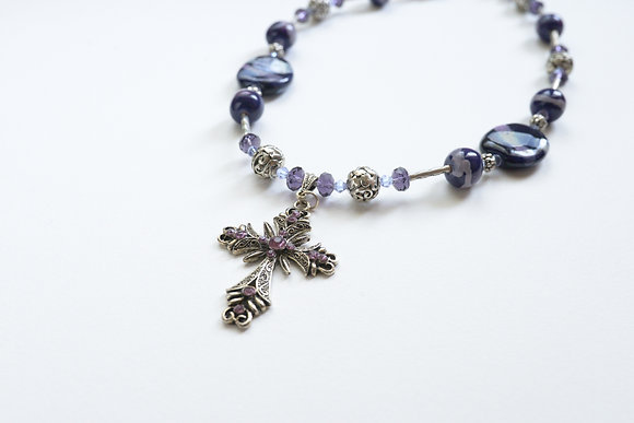 violet cross necklace and earring set