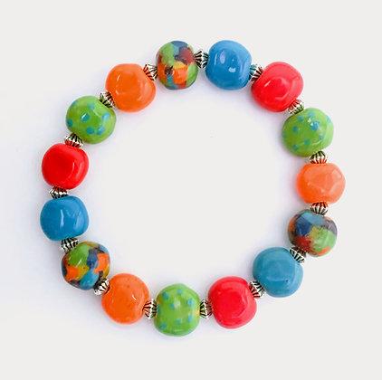 orange, blue, green, red stackable bracelet