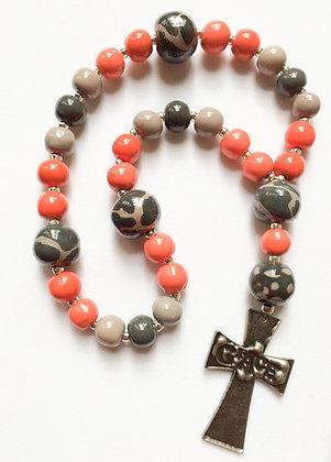 orange and gray prayer beads