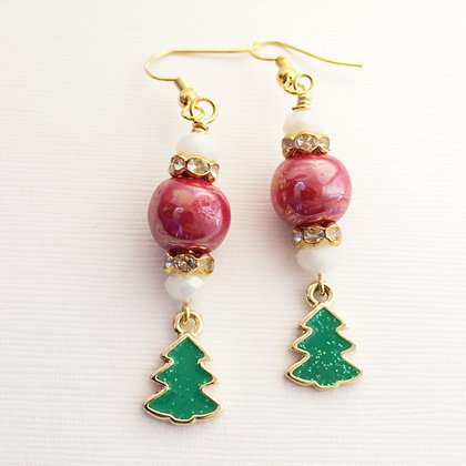 red and white with trees earrings