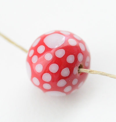 red with white large & small dots round ball