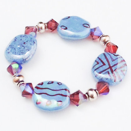blue and cranberry bracelet