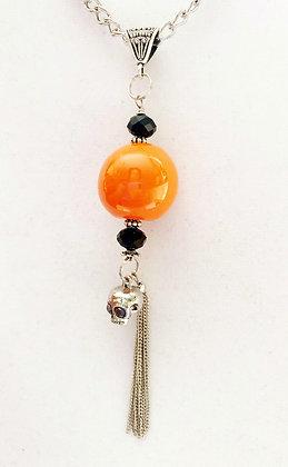 orange and black with skull charm long pendant