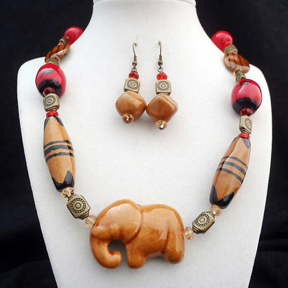 brown, red & black elephant necklace or earrings