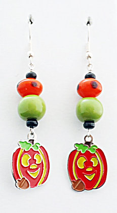 green and orange jack-o-lantern earrings