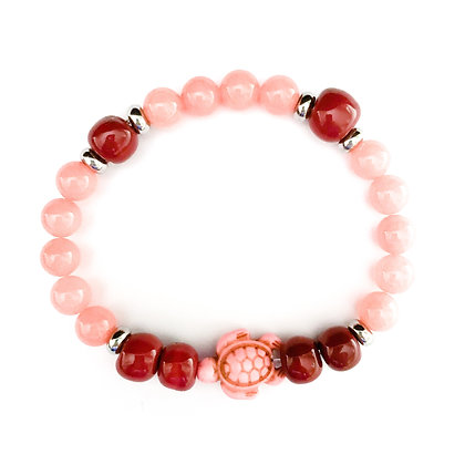shades of pink with turtle stackable bracelet
