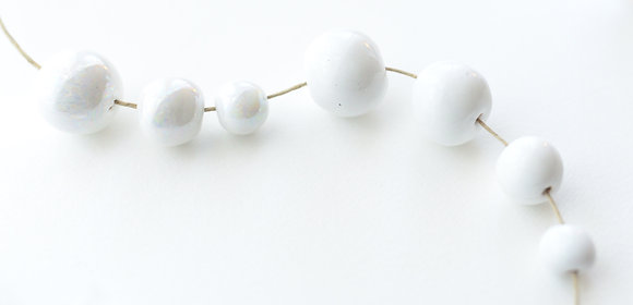 white solid round ball - assorted sizes