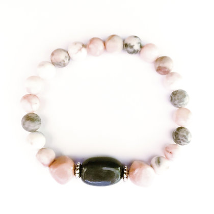 pink and gray stackable bracelet