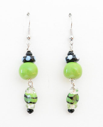 green and black candy earrings