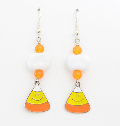 white and orange candy corn earrings