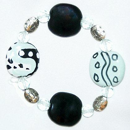 black, white and pale mint bracelet
