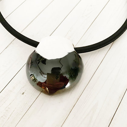 black and white large hole pendant
