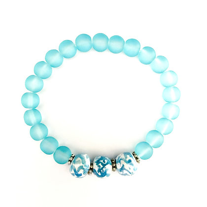 white with turquoise three bead stackable bracelet
