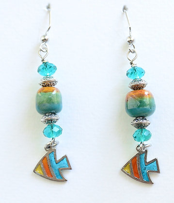 teal green and orange fish earrings