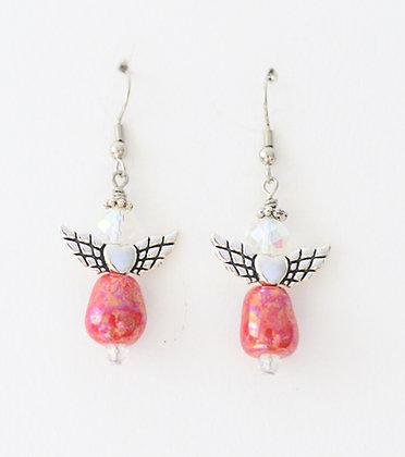 earrings - red, green, or blue angel