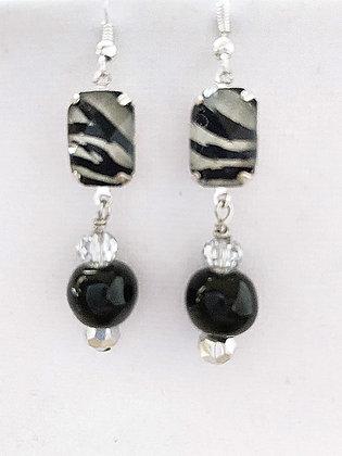 black with zebra pattern earrings