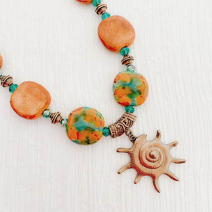 green and brown beach necklace or earrings