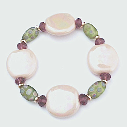 cream and green gold bracelet