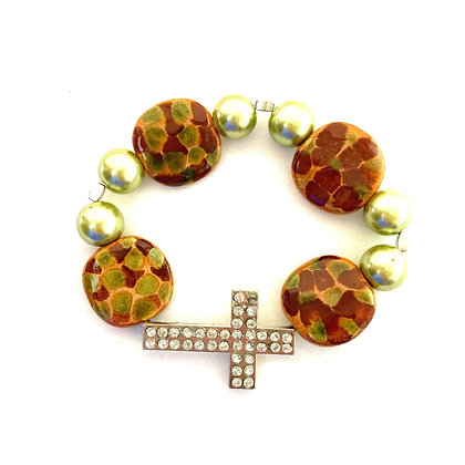 brown and green with cross bracelet