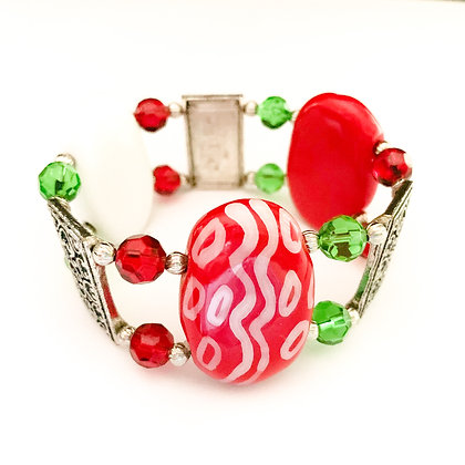red, white and green double bracelet