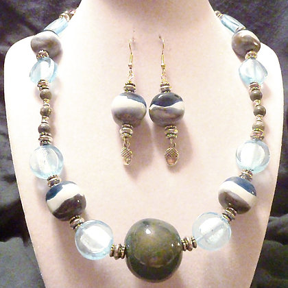 green and blue stripe necklace or earrings