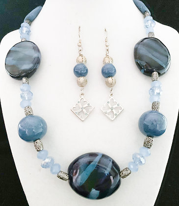 shade of blue pendant necklace or earrings