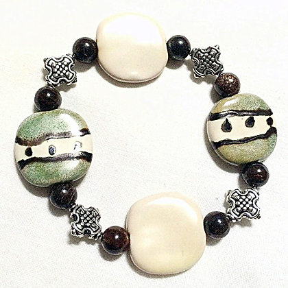 green, cream and brown bracelet
