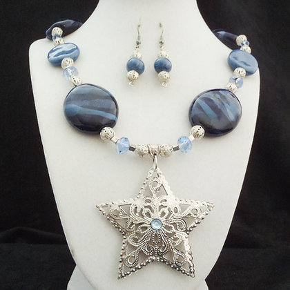 blue with star pendant necklace or earrings
