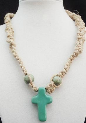 aqua cross macrame necklace