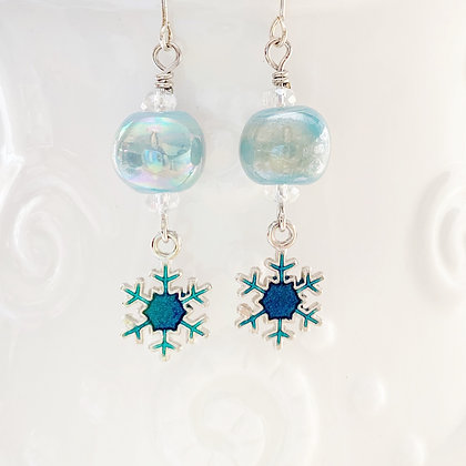 frozen blue with snowflakes earrings