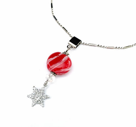 red and white with star necklace