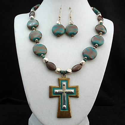green with brown splash cross necklace or earrings