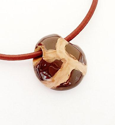 brown giraffe pattern large hole pendant