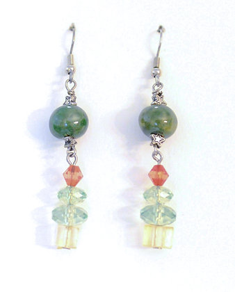 green with glass Christmas trees earrings