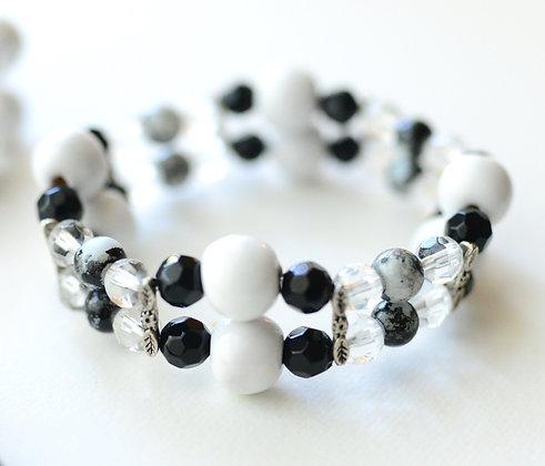 black and white double strand bracelet
