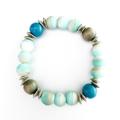 turquoise and gray stackable bracelet