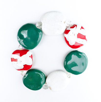 forest green, red and white bracelet