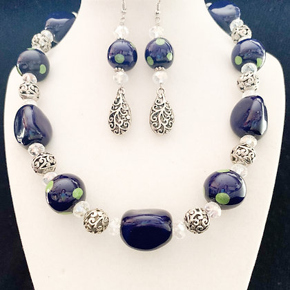 blue with green dots necklace or earrings