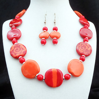red and orange sun necklace or earrings